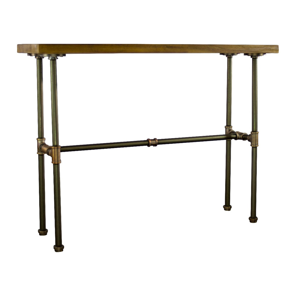 Furniture Pipeline Corvallis Industrial Chic Console Table, Rustic Bronze Combo with Light Brown Stained Wood - Pot Racks Plus