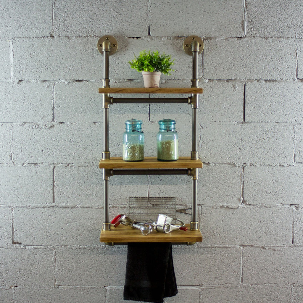 Furniture Pipeline Juneau Industrial Wall Mounted Etagere Rack, Brushed Brass Gray Steel Combo with Natural Stained Wood - Pot Racks Plus