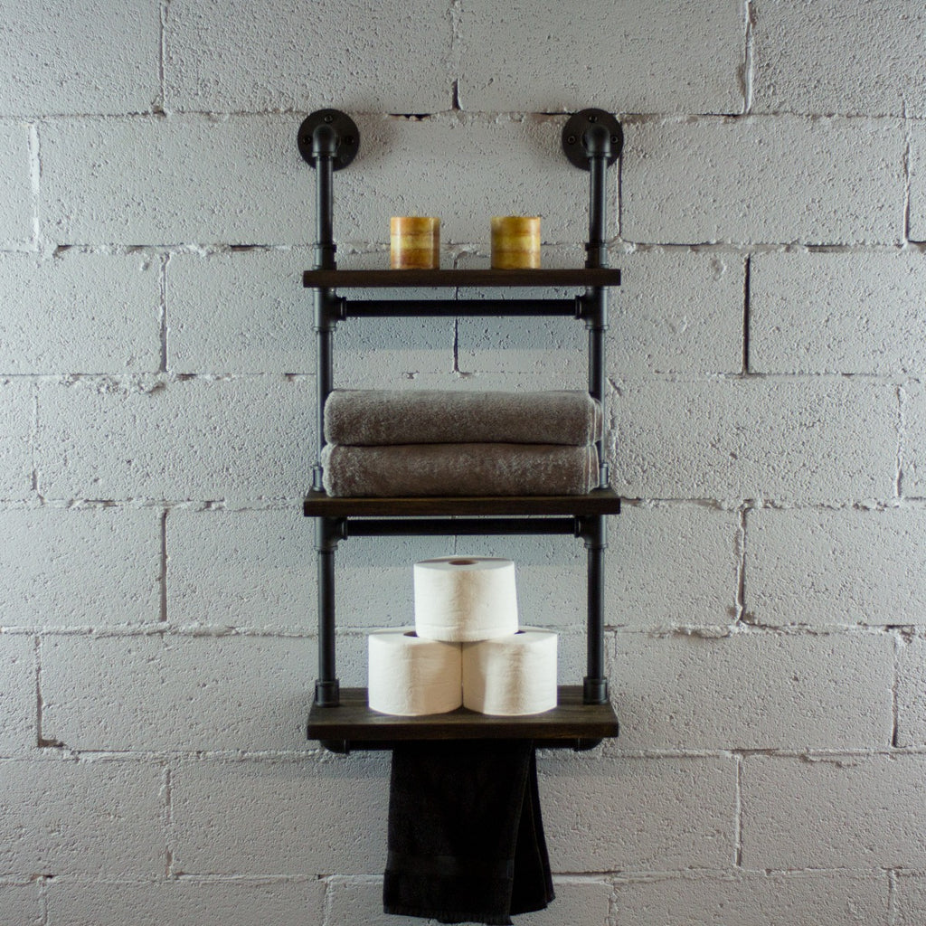 Furniture Pipeline Juneau Industrial Wall Mounted Etagere Rack, Black Steel Combo with Dark Brown Stained Wood - Pot Racks Plus