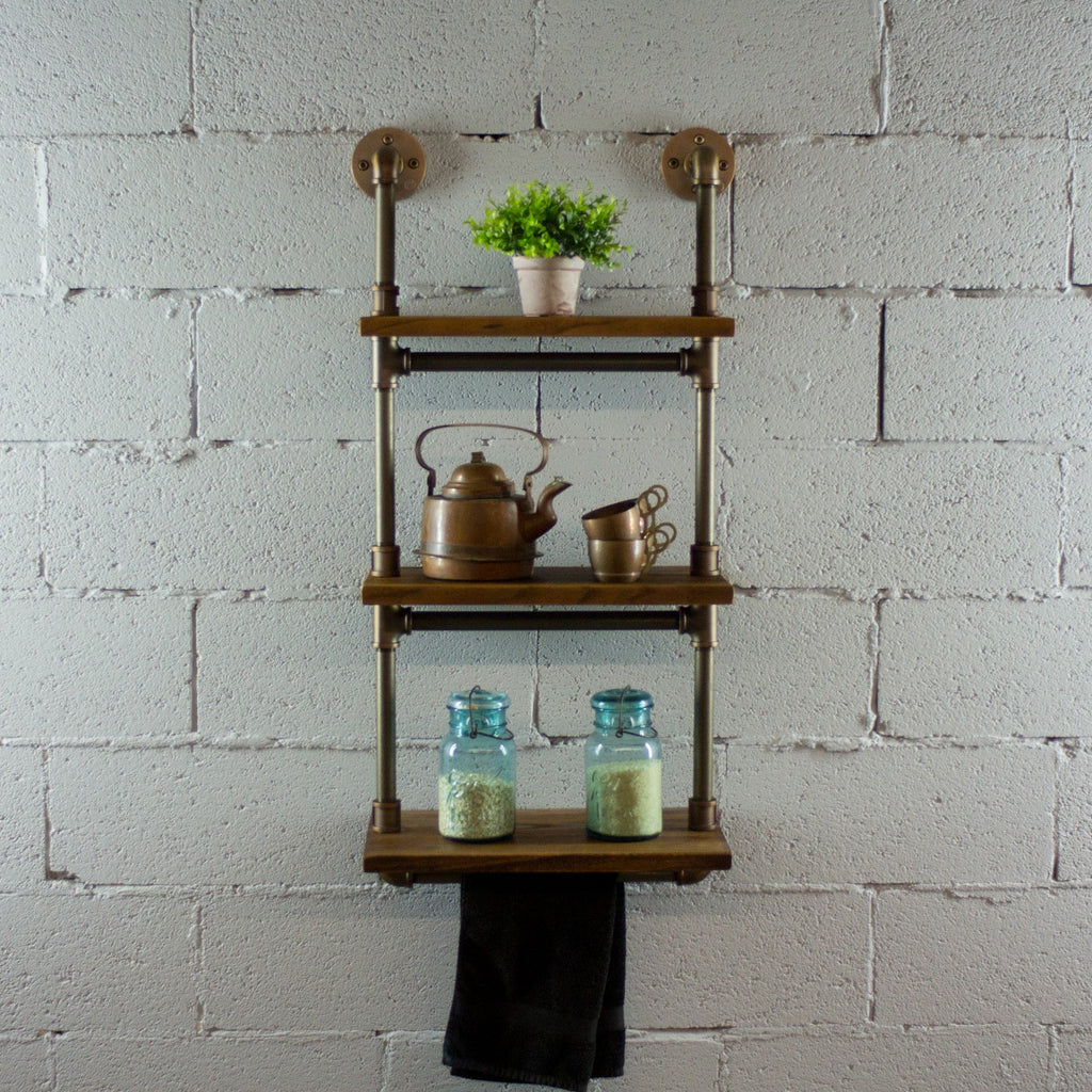 Furniture Pipeline Juneau Industrial Wall Mounted Etagere Rack, Rustic Bronze Combo with Light Brown Stained Wood - Pot Racks Plus