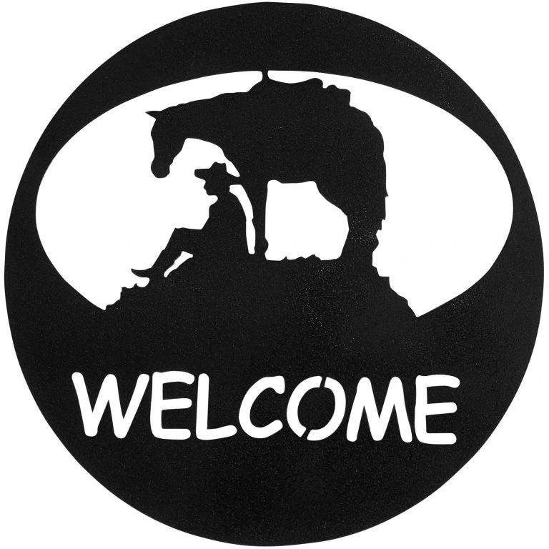 Horse & Cowboy Welcome Circle, Hammered Black - Pot Racks Plus