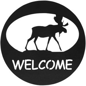 Moose Welcome Circle-Hammered Black - Pot Racks Plus