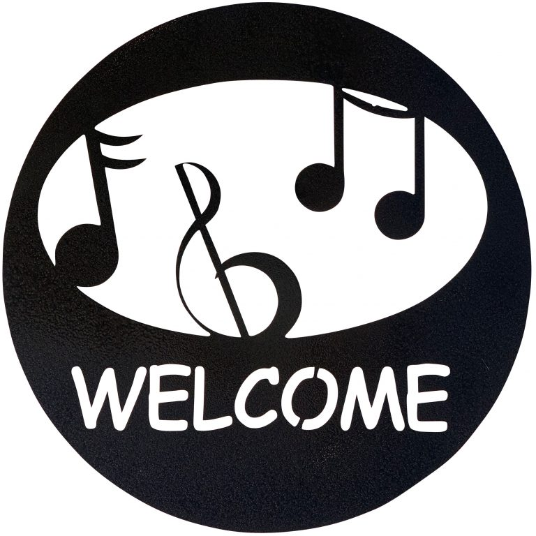 Music Welcome Circle-Hammered Black - Pot Racks Plus