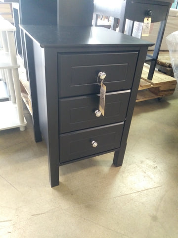 Side table 3-drawers black