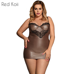Plus Size Faux Leather Sexy Lingerie Nightdress