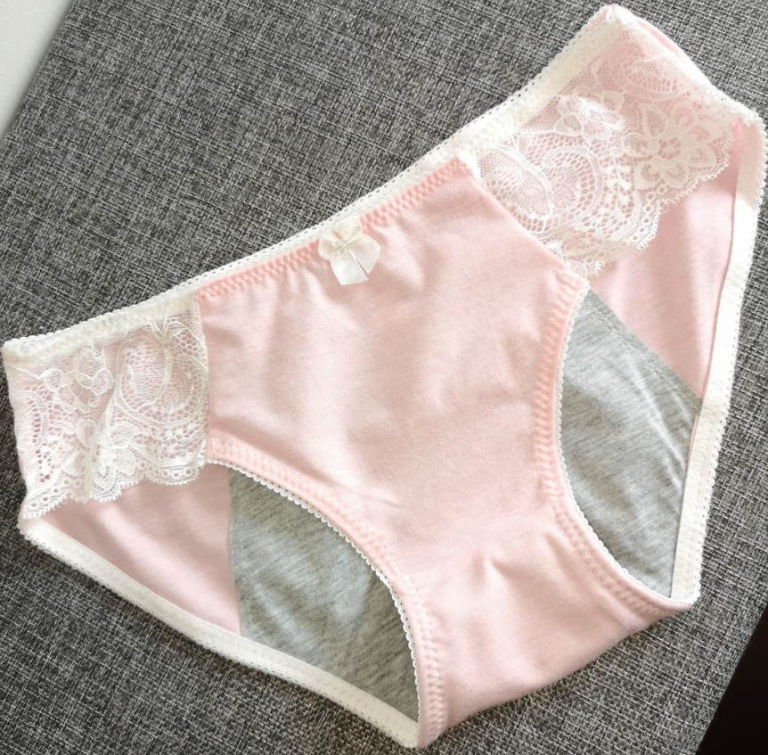 During the period of pants, women's breathable and comfortable warm baby color cotton physiological pants before and after leaking menstrual underwear lace
