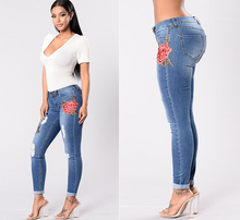 European Embroidery stretch jeans