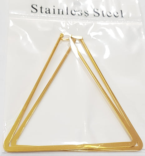 Triangle Shape Gold Hoop Earrings
