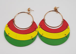 Color Block Wood Earrings