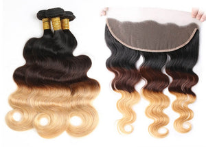 Ombre 3 Toned Peruvian Bodywave 9A grade Quality 14,16,18 with Frontal
