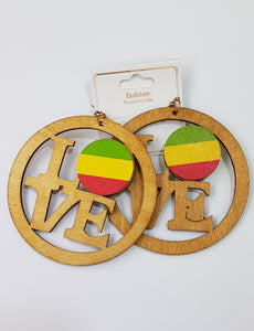Love Green, Yellow & Red Wood Earrings