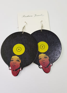 Afro Woman Wooden Earrings
