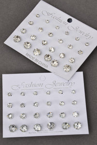 Earrings 12 pair Acrylic Studs Silver Clear