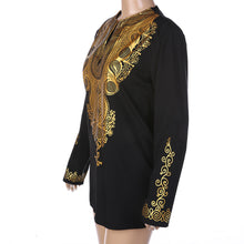 African style ethnic print V-neck long-sleeved T-shirt