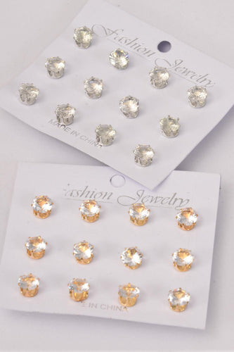 8 mm Gold & Silver Mix 9 Pair Cubic Zircon Post