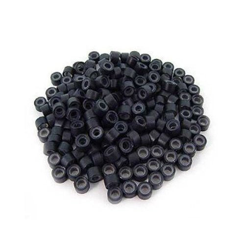 Black 5mm Silicone Lined Micro-ring Links Beads  50 Pcs
