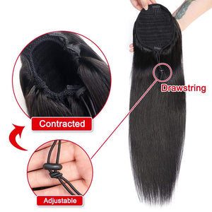 Equal Drawstring Ponytail 18 Inches Yaki Straight, 14inch
