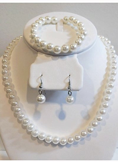 White faux pearl jewelry set: necklace, bracelet and earrings