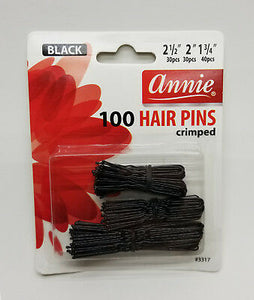 ANNIE 100 PCS Hair Pins Black Ball Tipped Crimped