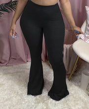 Solid Color Plus Size Skinny Flare Pants