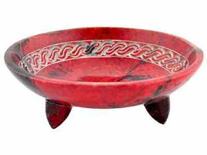 This Red Celtic Knot stone incense burning bowl