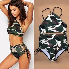 Camouflage Bikini Set High Waist Swimsuit Female High Neck- Large