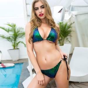 Two Piece Green Glitter Bikini Set