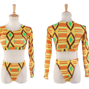 African Print Long Sleee Two piece set Swimsuit