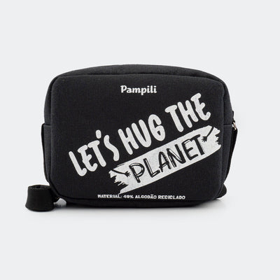 Bolsa Tiracolo Infantil Let's Hug The Planet Preta - pampili