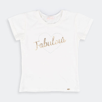 Camiseta Manga Curta Infantil Fabulous Off White - pampili