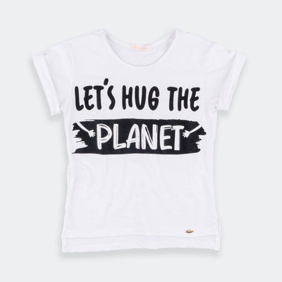 Camiseta Infantil Let's Hug The Planet Off White/Preta - pampili