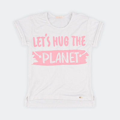 Camiseta Infantil Let's Hug The Planet Off White/Rosa Blush - pampili