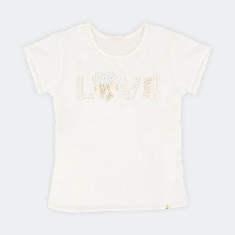 Blusa Infantil Pampili Com Estampa Love Off White - pampili