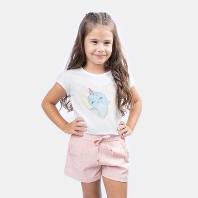 Camiseta Infantil Feminina Magic Narval Off White - pampili