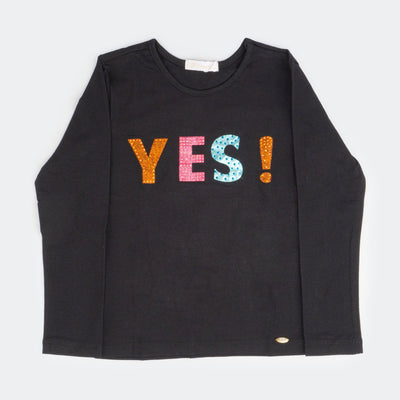 Camiseta Infantil Yes Preto - pampili