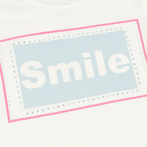 Camiseta Infantil Pampili Smile Off White Com Hotfix - pampili
