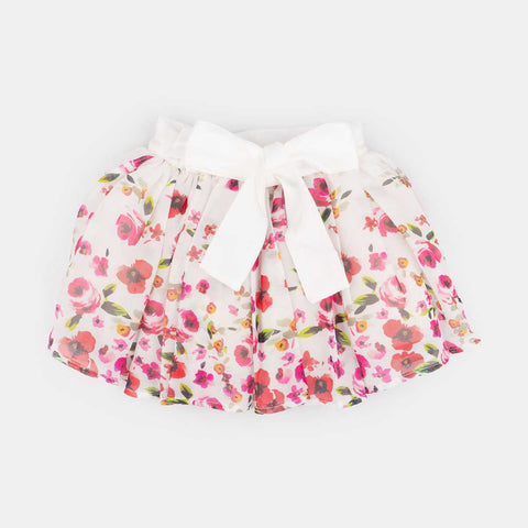 Saia Tutu Infantil Pampili Flowers Off White - pampili