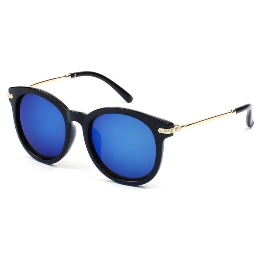 BRUSSELS | 289 - Round P3 Horn Rimmed Sunglasses With Embossed Hinges