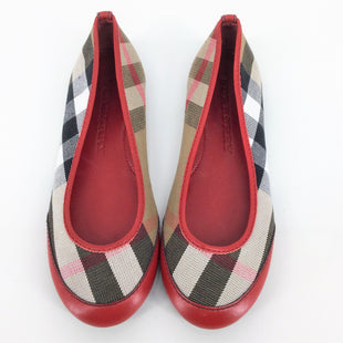 Burberry Flats Size:4 - LIKE NEW FLATS. SIGNATURE BURBERRY PLAID CANVAS WITH RED LEATHER TRIM AND TOES. ADULT SIZE 4..