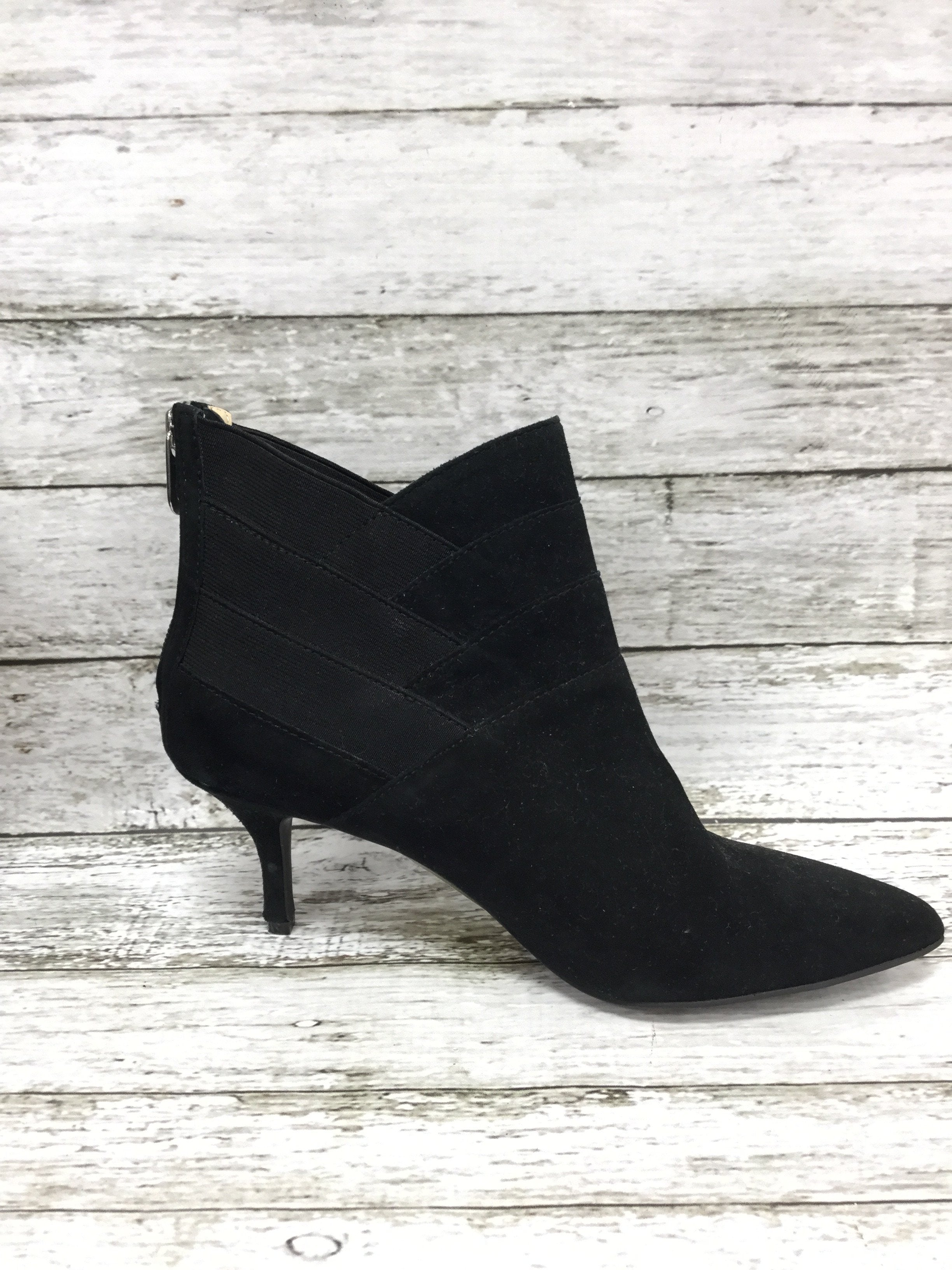 Photo #2 - brand: adrienne vittadini , style: boots ankle , color: black , size: 7.5 , sku: 127-3371-41625, , suede booties with diagonal elastic and suede detail!