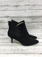 Photo #1 - brand: adrienne vittadini , style: boots ankle , color: black , size: 7.5 , sku: 127-3371-41625, , suede booties with diagonal elastic and suede detail!