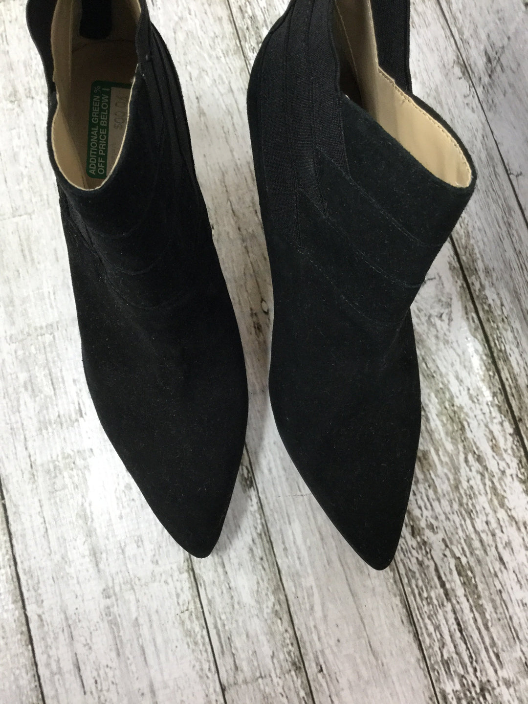 Photo #3 - brand: adrienne vittadini , style: boots ankle , color: black , size: 7.5 , sku: 127-3371-41625, , suede booties with diagonal elastic and suede detail!