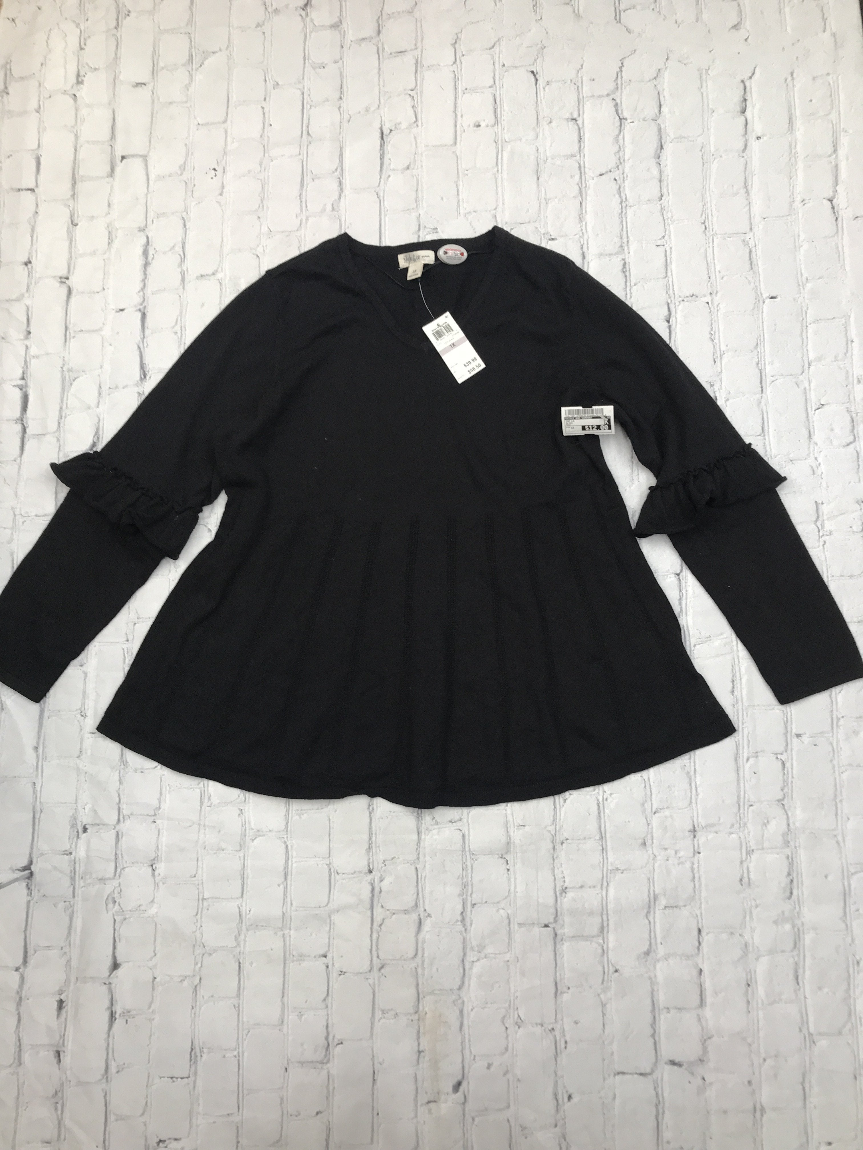 Primary Photo - brand: style and company , style: top long sleeve , color: black , size: 1x , other info: new! , sku: 126-1881-67026