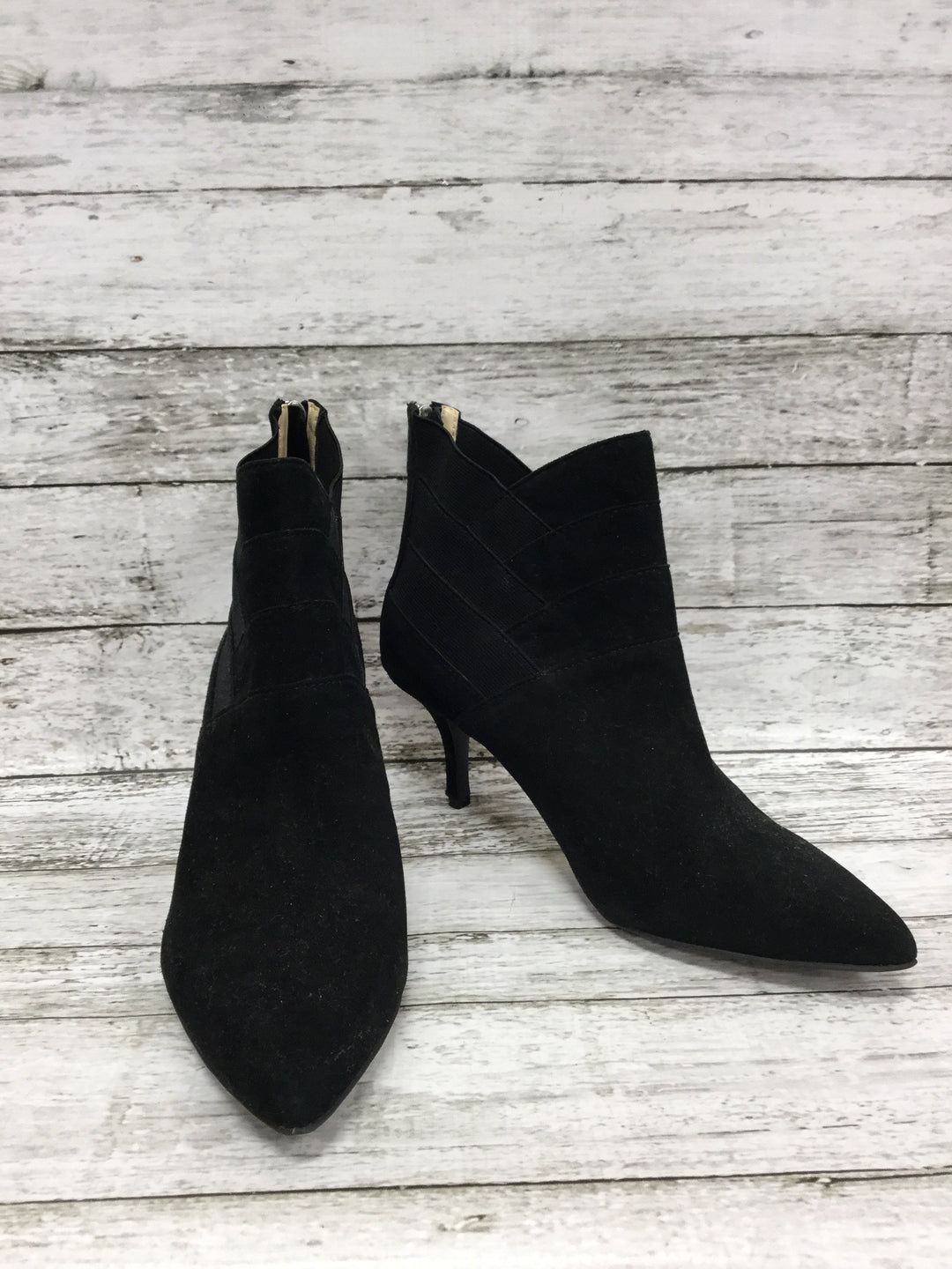 Primary Photo - brand: adrienne vittadini , style: boots ankle , color: black , size: 7.5 , sku: 127-3371-41625, , suede booties with diagonal elastic and suede detail!