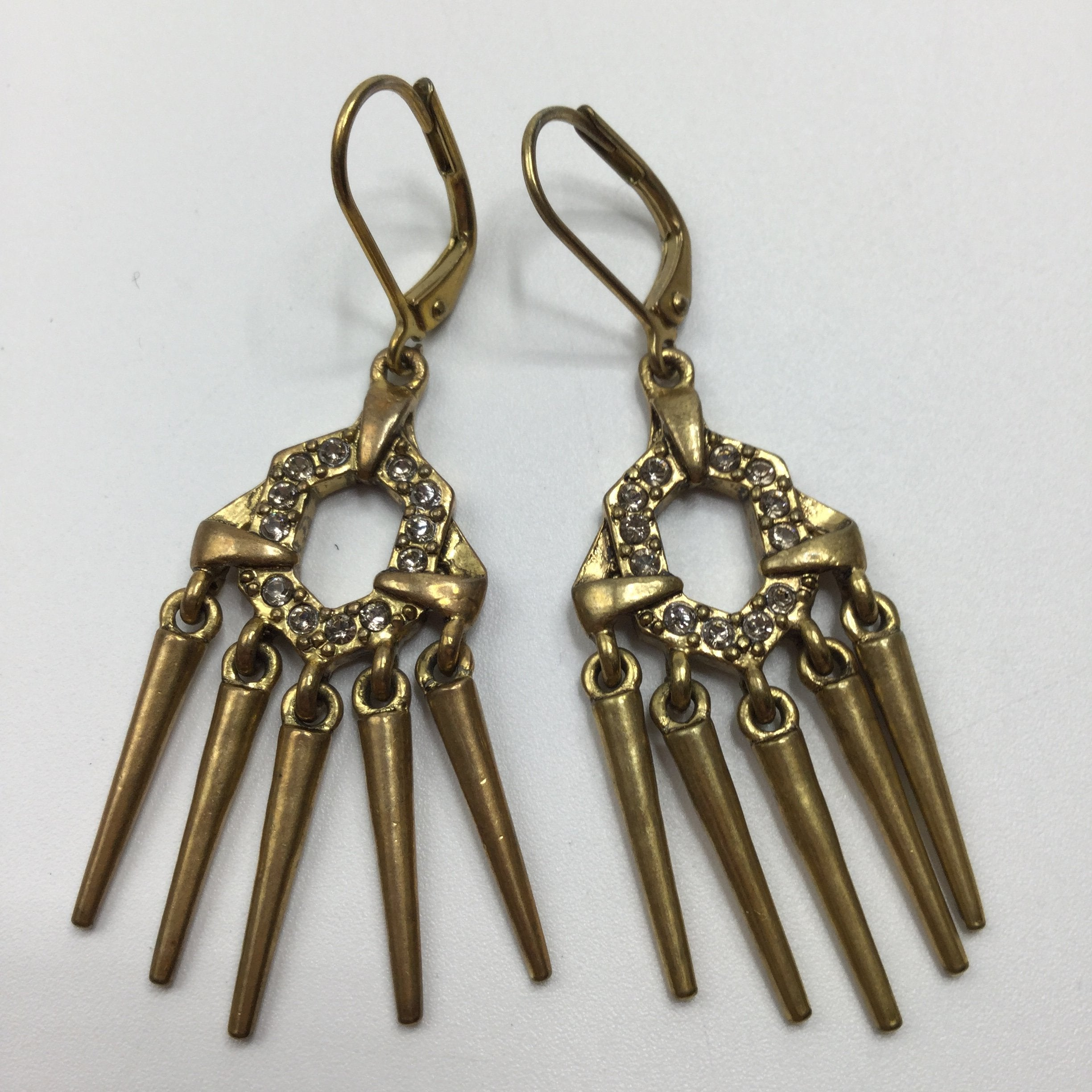 Sam Edelman Earrings - <p>pave pronged spike drop earrings in gold</p>