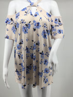 MATERNITY APPAREL, - <p>beautiful floral design,  very spring like cold shoulder maternity top,  cut outs in both  the front and back,  slight ruffle detail on the shoulders</p>
