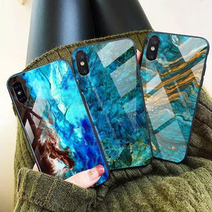 iPhone XS Max Sea Pattern Marble  Case + Tempered Glass + Camera Lens Guard