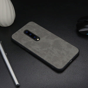 OnePlus 7T Pro (3 in 1 Combo) Leather Texture Case + Tempered Glass + Camera Lens Guard