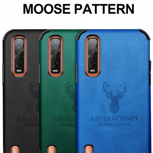 Oppo F15 Shockproof Deer Leather Texture Cover