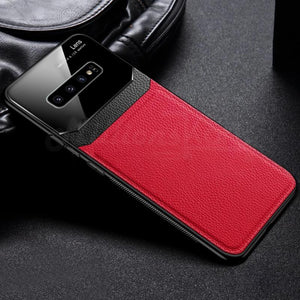 Galaxy S10 Sleek Slim Leather Glass Case